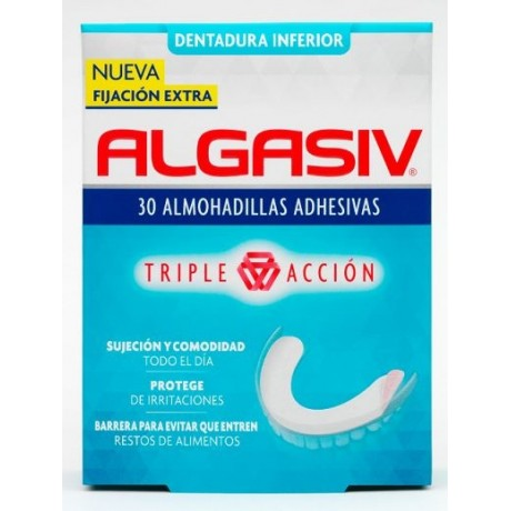 Algasiv Dentadura Inferior Triple Acción (30 almohadillas)