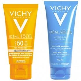 Vichy Ideal Soleil SPF50 BB Emulsión Tacto Seco con color (50 ml.) + After Sun (100 ml.)